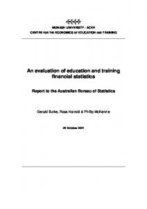 An evaluation of education and training financial statistics