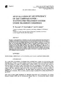 AN EVALUATION OF THE EFFICIENCY OF THE COMBINED SEWER - WASTEWATER TREATMENT SYSTEM UNDER TRANSIENT CONDITIONS