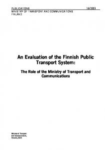 An Evaluation of the Finnish Public Transport System: The Role of the Ministry of Transport and Communications