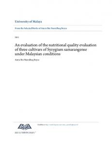 An evaluation of the nutritional quality evaluation of three cultivars of Syzygium samarangense under Malaysian conditions
