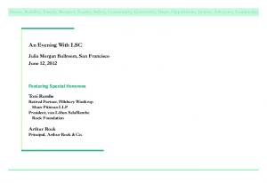 An Evening With LSC. Featuring Special Honorees. Julia Morgan Ballroom, San Francisco June 12, 2012