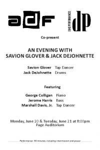 AN EVENING WITH SAVION GLOVER & JACK DEJOHNETTE