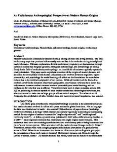 An Evolutionary Anthropological Perspective on Modern Human Origins