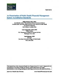 An Examination of Public Health Financial Management System Accreditation Standards