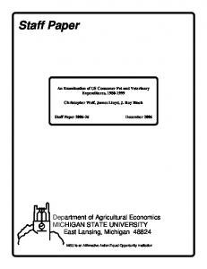 An Examination of US Consumer Pet and Veterinary Expenditures, Christopher Wolf, James Lloyd, J. Roy Black