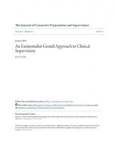 An Existentialist-Gestalt Approach to Clinical Supervision