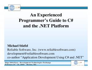 An Experienced Programmer s Guide to C# and the.net Platform