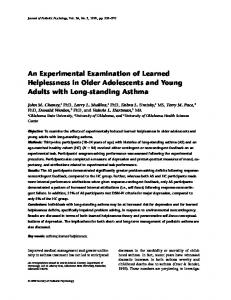 An Experimental Examination of Learned Helplessness in Older Adolescents and Young Adults with Long-standing Asthma