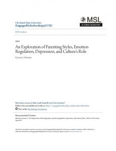 An Exploration of Parenting Styles, Emotion Regulation, Depression, and Culture's Role