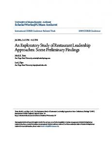 An Exploratory Study of Restaurant Leadership Approaches: Some Preliminary Findings