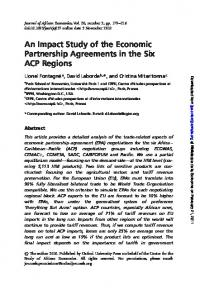 An Impact Study of the Economic Partnership Agreements in the Six ACP Regions