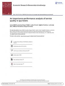 An importance-performance analysis of service quality in spa hotels