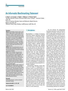 An Informatics BenchmarkingStatement
