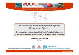 An innovative waste management system (Alexandria, Egypt) :