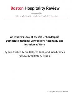 An Insider s Look at the 2016 Philadelphia Democratic National Convention: Hospitality and Inclusion at Work