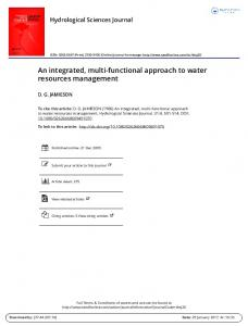 An integrated, multi-functional approach to water resources management