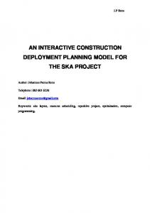 AN INTERACTIVE CONSTRUCTION DEPLOYMENT PLANNING MODEL FOR THE SKA PROJECT