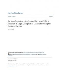 An Interdisciplinary Analysis of the Use of Ethical Intuition in Legal Compliance Decisionmaking for Business Entities