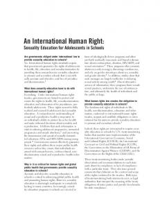 An International Human Right: Sexuality Education for Adolescents in Schools