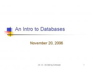 An Intro to Databases