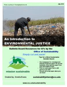 An Introduction to ENVIRONMENTAL JUSTICE