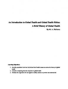 An Introduction to Global Health and Global Health Ethics: A Brief History of Global Health
