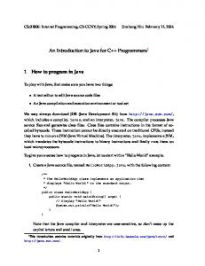 An Introduction to Java for C++ Programmers 1
