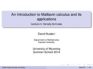 An Introduction to Malliavin calculus and its applications