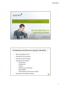 An Introduction to Operational Risk