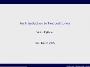 An Introduction to Preconditioners