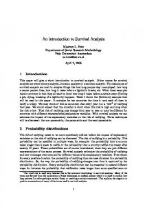 An introduction to Survival Analysis