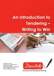 An Introduction to Tendering Writing to Win