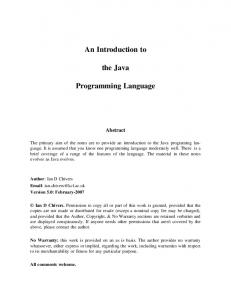 An Introduction to. the Java. Programming Language