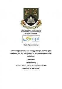 An investigation into the energy storage technologies available, for the integration of alternative generation techniques
