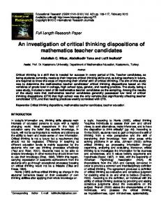 An investigation of critical thinking dispositions of mathematics teacher candidates