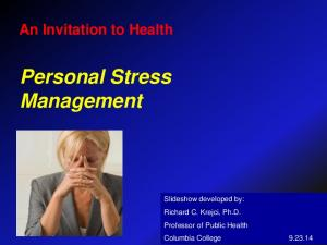 An Invitation to Health Personal Stress Management