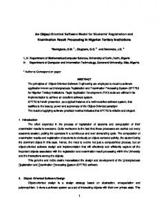 An Object-Oriented Software Model for Students Registration and Examination Result Processing in Nigerian Tertiary Institutions