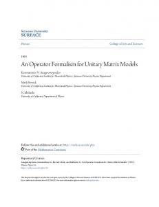 An Operator Formalism for Unitary Matrix Models