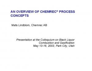 AN OVERVIEW OF CHEMREC PROCESS CONCEPTS
