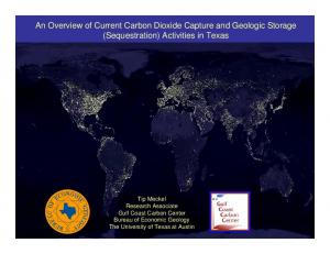 An Overview of Current Carbon Dioxide Capture and Geologic Storage (Sequestration) Activities in Texas