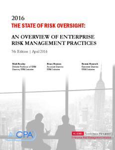 AN OVERVIEW OF ENTERPRISE RISK MANAGEMENT PRACTICES