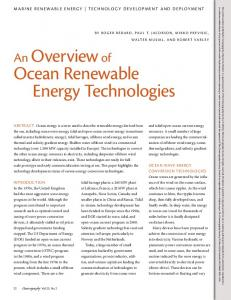 An Overview of Ocean Renewable Energy Technologies