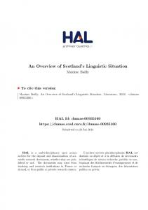 An Overview of Scotland s Linguistic Situation