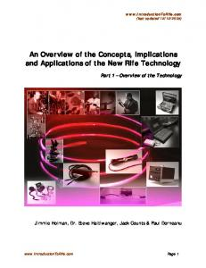 An Overview of the Concepts, Implications and Applications of the New Rife Technology