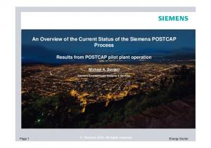 An Overview of the Current Status of the Siemens POSTCAP Process