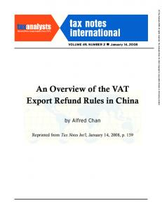 An Overview of the VAT Export Refund Rules in China