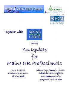 An Update for Maine HR Professionals