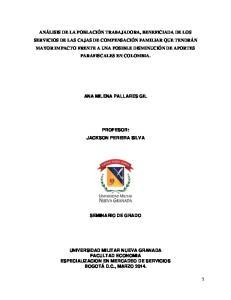 ANA MILENA PALLARES GIL PROFESOR: JACKSON PEREIRA SILVA SEMINARIO DE GRADO