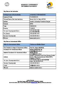 ANADOLU UNIVERSITY INFORMATION SHEET