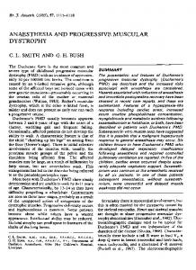 ANAESTHESIA AND PROGRESSIVE MUSCULAR DYSTROPHY